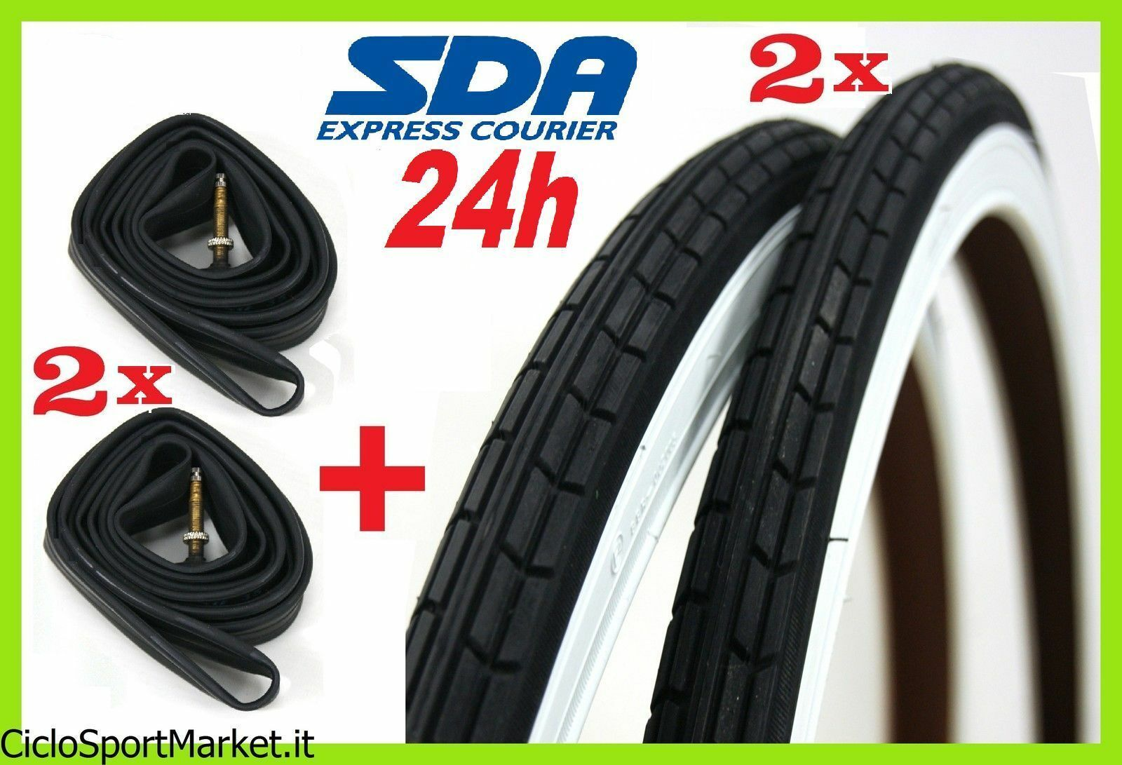 2 Tyres + 2 Inner tubes bicycle 28 x 1 5 8 - 1 3 8 ( 700 x 35 )