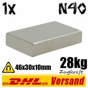 Neodym-Magnet-Quader-46x30x10mm-N40-28kg-Zugkraft-Hochleistungsmagnet-Magnetic