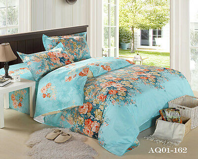 Floral Quilt Doona Cover Set 100% Cotton Queen King Size Bed Linen Fitted Sheets