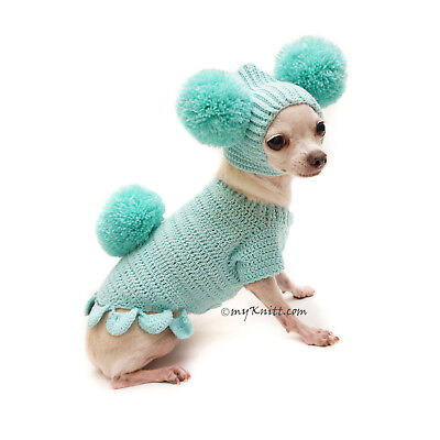 Easter Bunny Dog Costume, Pom Pom Dog Hat, Puppy Sweater, Turquoise F109 Myknitt - eBay
