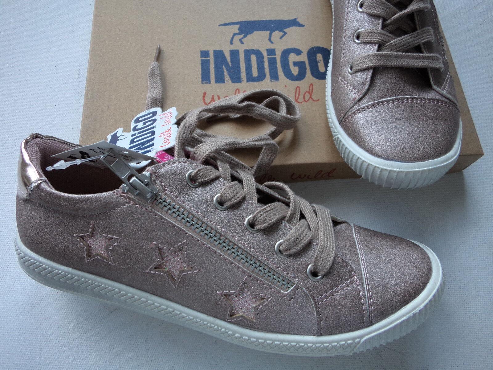 NEU Indigo Sneaker Schnürer mit Wechselfußbett  pink-gold Größe 37