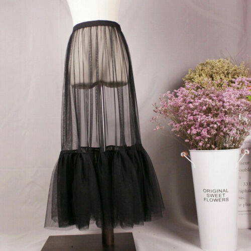 Damen Durchsichtig Netz Rock Rüsche Plissiert Gummibund Tüll Unterrock