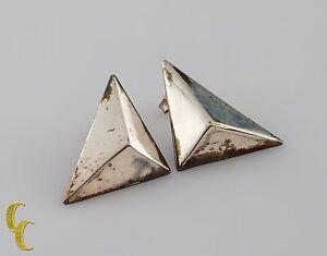 925 Sterling Silver 3D Geometric Triangle Earrings