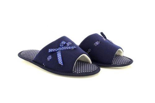 Ladies Sarah Luxury Bow Open Mule Slippers Navy