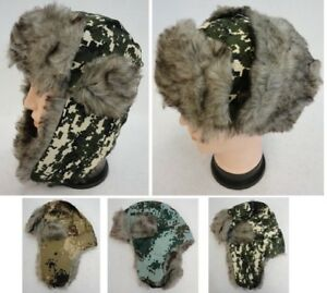 eeacba487 Details about Digital Camo Aviator Hat Camouflage Hunting Trapper Hats w/  Faux Fur