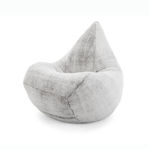 XLarge Grey Faux Fur Beanbag Cover Soft Fluffy Grey 300L Capacity  0dede89f5f60c