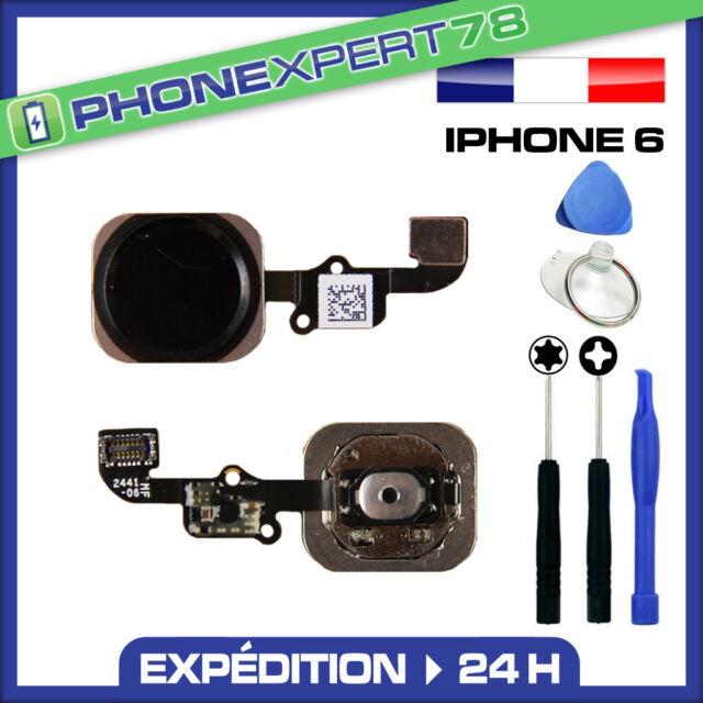 BOUTON HOME + NAPPE POUR IPHONE 6 NOIR / GRIS SIDÉRAL + KIT OUTILS