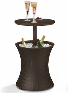 Resin Rattan Drink Cooler Patio Table Hd1