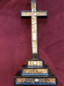 FRENCH-PAPEROLLE-CROSS-CRUCIFIX-19TH-CENTURY-RELICS-RELIQUARY-CA-1860