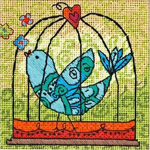 DIMENSIONS Needlepoint Kit BIRDIE birdcage boho bird lovebird Valentines heart