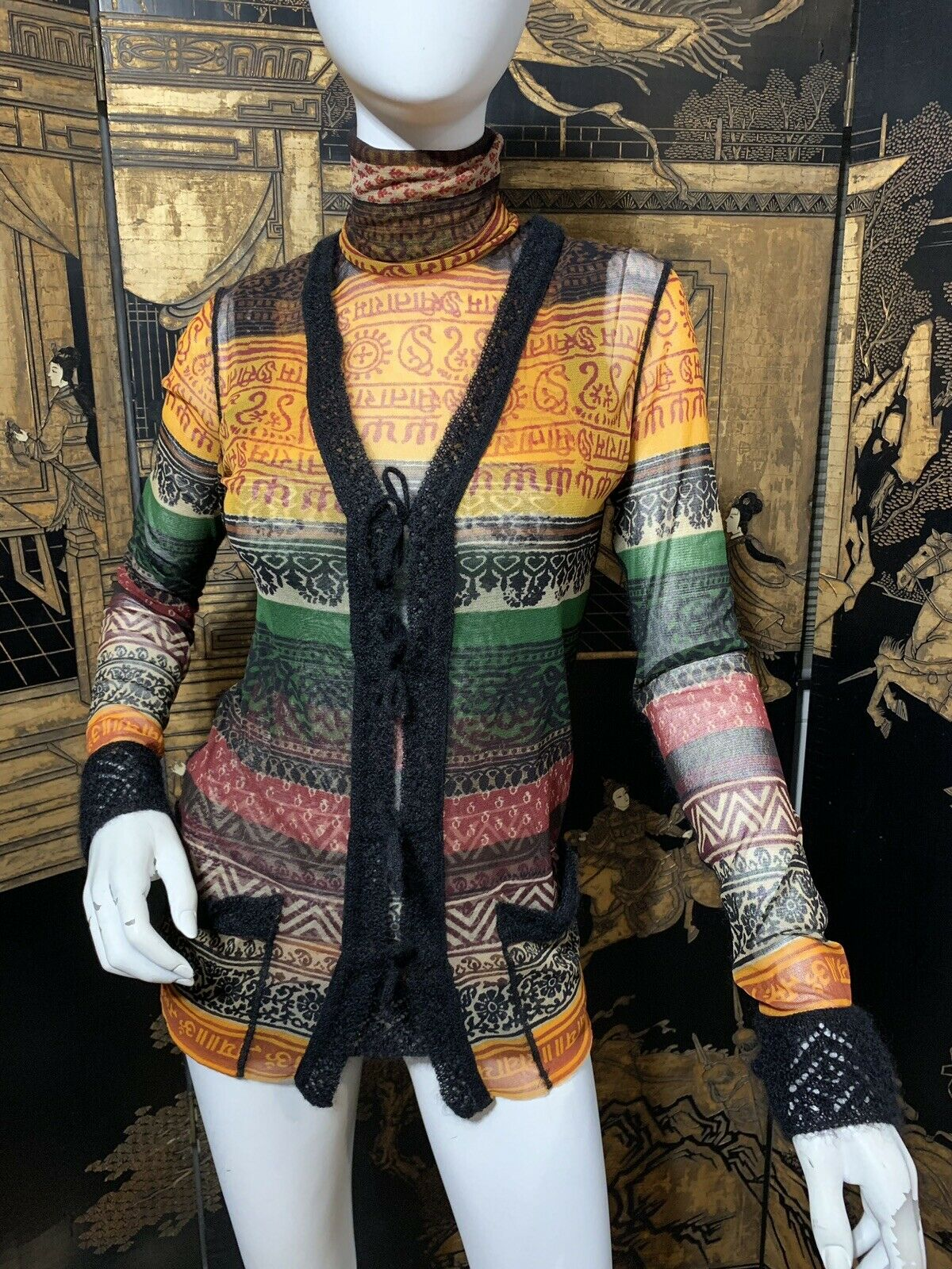Jean Paul Gaultier Mixed Print Mesh Knit Cardigan + oben SET