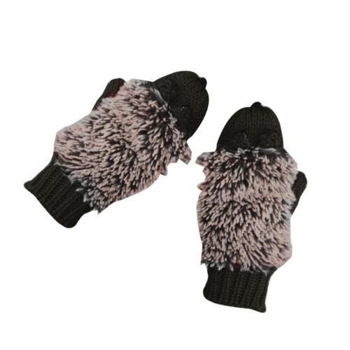 New Women Cartoon Hedgehog Animal Winter Warm Knitted Gloves Full Finger Mittens