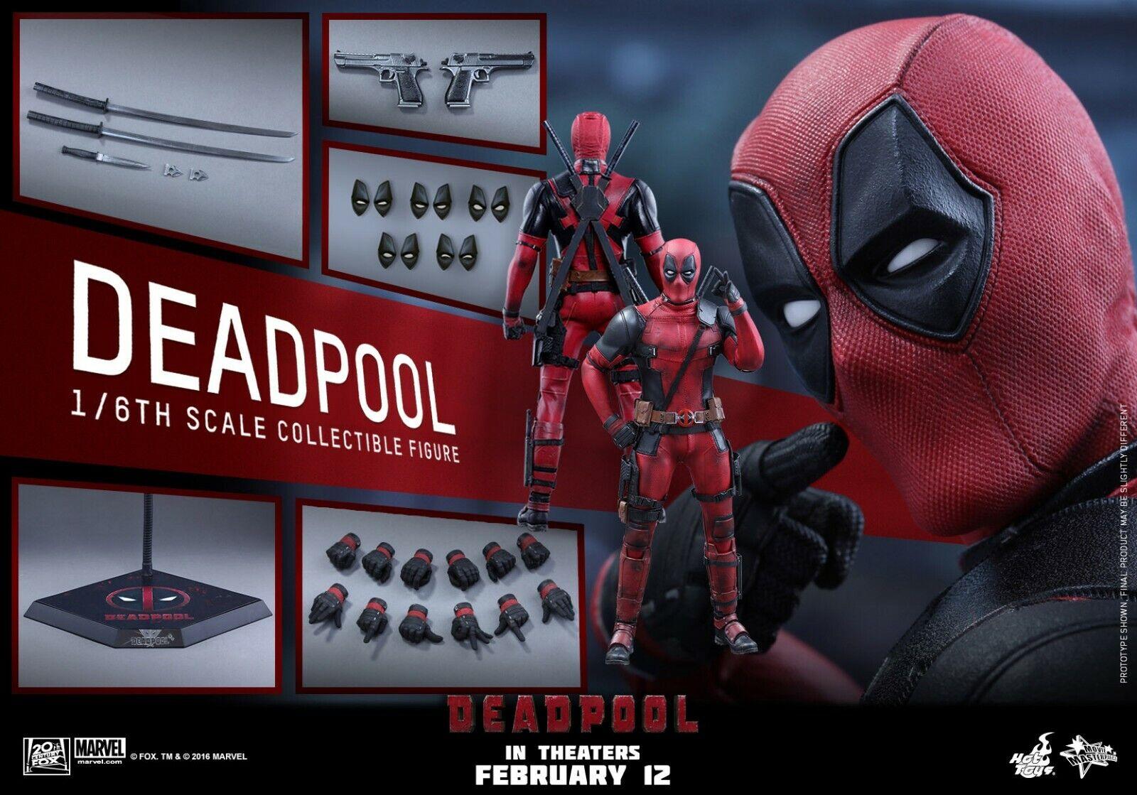 nuevo  2016 Hot Toys MMS-347 1 6 escala 12  Deadpool figura Ryan Reynolds X-men