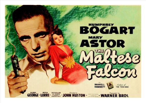The Maltese Falcon Movie Vintage Poster Film Noir Photo Bogart Astor Star Print
