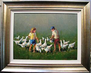 Gian-Piero-Garizio-039-s-Australian-original-acrylic-titled-039-Feeding-the-Geese-039