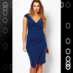 Details about PLUS SIZE Blue Ruched Wrap Knee-length Clubwear Party Bodycon  Mini Dress LC6181P
