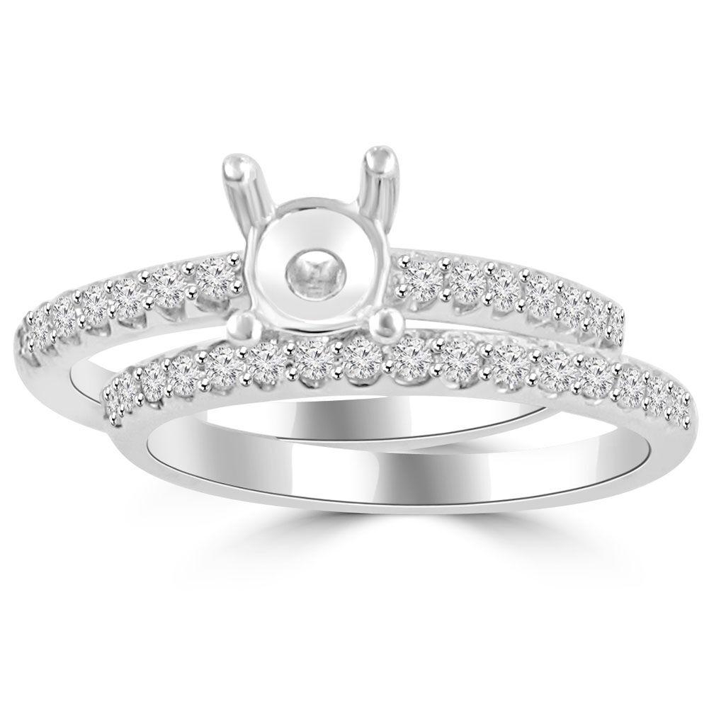 0.70 ct Ladies Round Cut Diamond Semi Mounting Engagement Ring Set in 14 kt gold