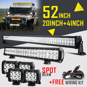 "52"" 700W CREE LED Work LIGHT BAR +20""+4"" OFFROAD 4WD SPOT FLOOD For FORD JEEP 50"