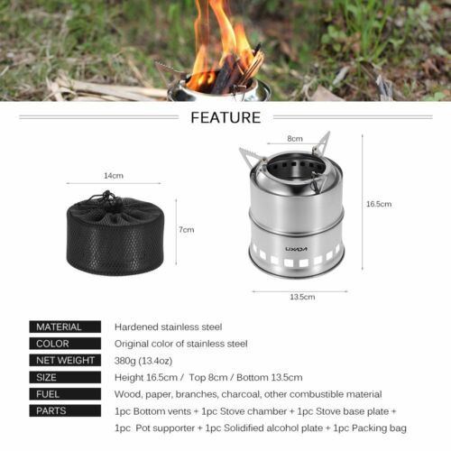 Portable Stainless Steel Outdoor Camping Survival Wood Burning Stove Alcohol BBQ