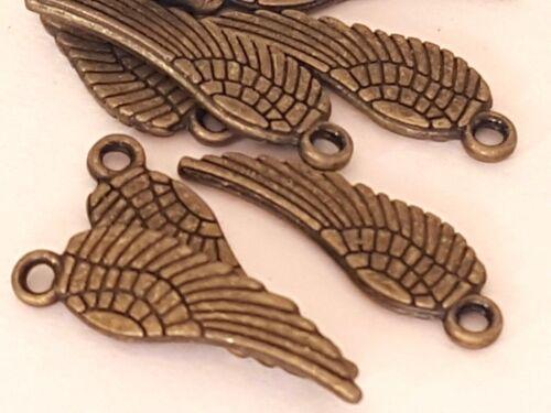 Antiguo Colgante de plumas de tono Ala de ángel encantos PK 20