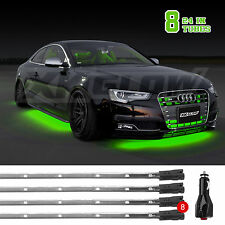 GREEN 8PCS 24in Tubes LED Neon Under Car Glow Underbody System Neon Lights Kit