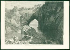 1874-Antique-Print-CORNWALL-Cadgwith-Devil-039-s-Frying-Pan-Rock-Formation-53