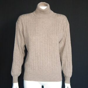 Neiman-Marcus-Beach-Brown-Cashmere-Cable-Turtleneck-Sweater-Womens-Small-2039
