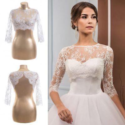 Lace Bolero Wedding Jackets White Ivory Plus Size Bridal Wraps 3/4 Sleeves  Short | eBay