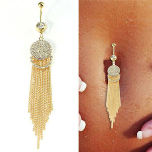 Details About Crystal Long Tassel Ring Navel Belly Button Ring Bar Body Piercing Jewelry J S