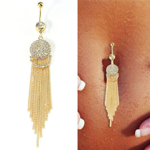 Crystal Long Tassel Ring Navel Belly Button Ring Bar Body Piercing Jewelry Nice