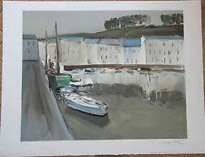 Georges LAPORTE  Lithographie signée épr. d'artiste port de pêche Bretagne .