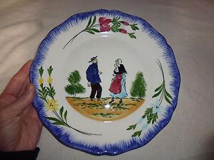 ancien assiette céramique faience Charolles signé MG décor ...
