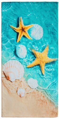 "30/""x60/"" 3D Shells Premium Velour Beach Towel"