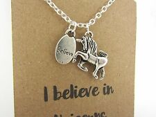 I Believe in Unicorns Unicorn & Believe Charm Cluster Message Card Necklace New