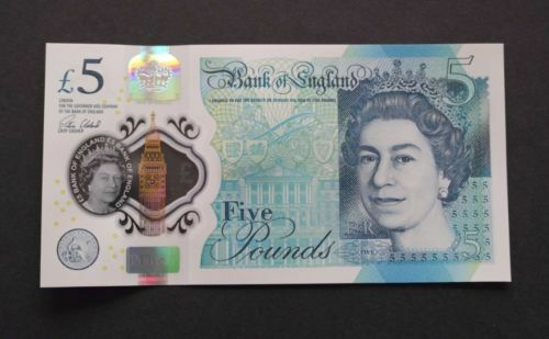 "/""Bank England polymer £5 pound/""SUPERB GEM UNC/""Single BANKNOTE SEQUENTIAL number"
