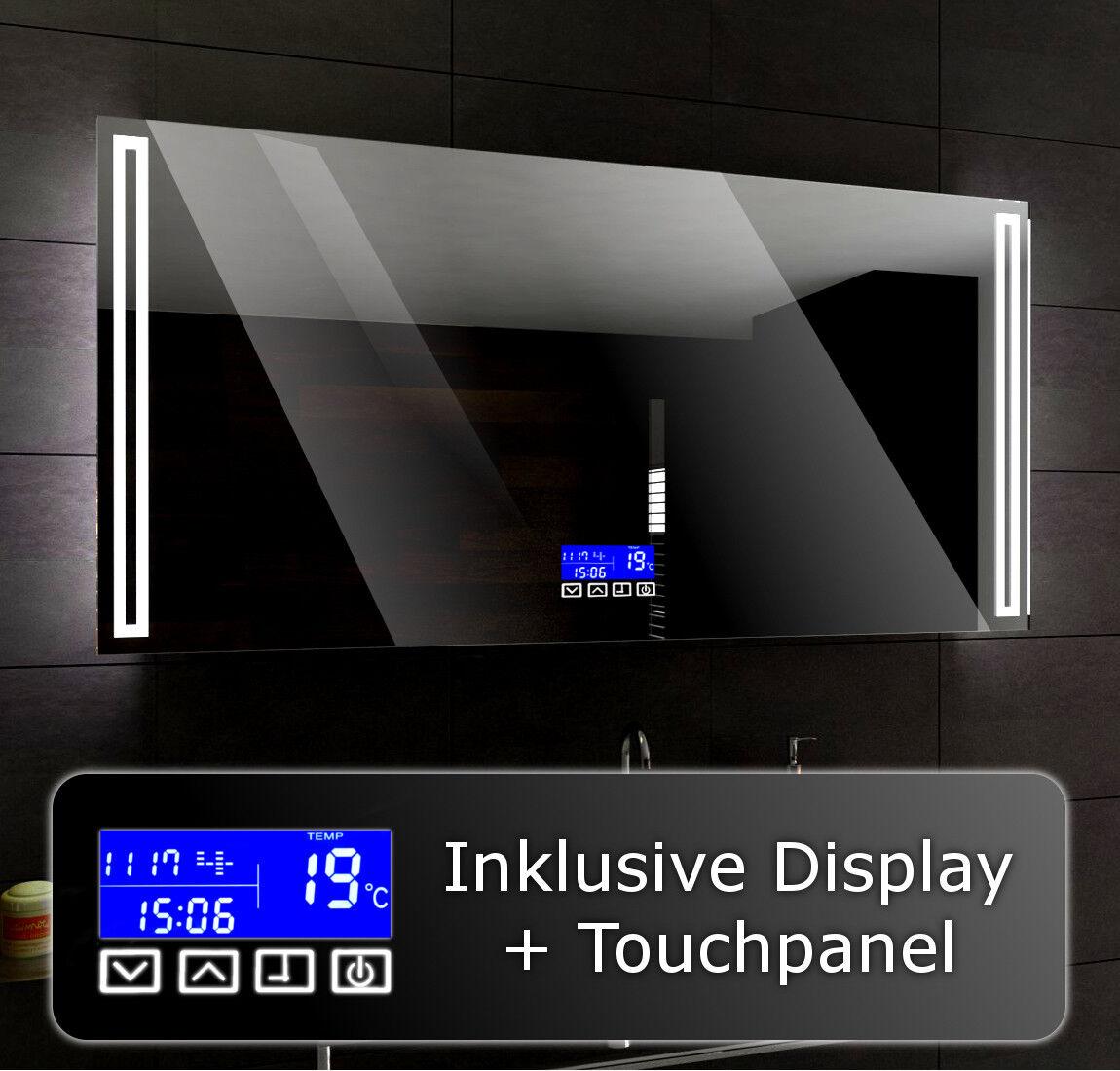 Lumineux DEL Miroir de salle de bain pour mesurer Roma + LCD Touch Control Panel