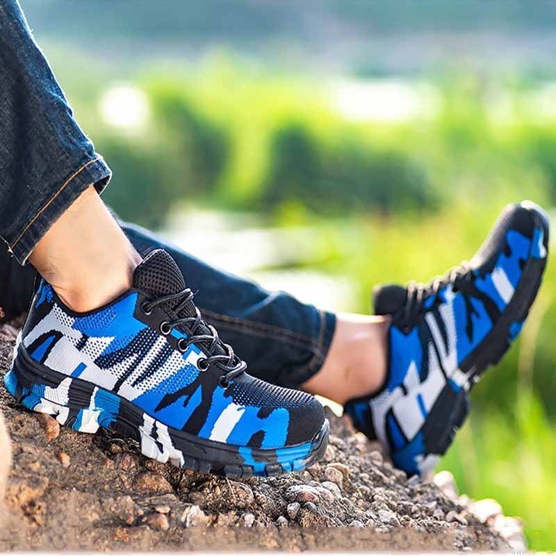 Men's Safety Work shoes Steel Toe Outdoor Hiking Mesh Breathable Casual Trainers