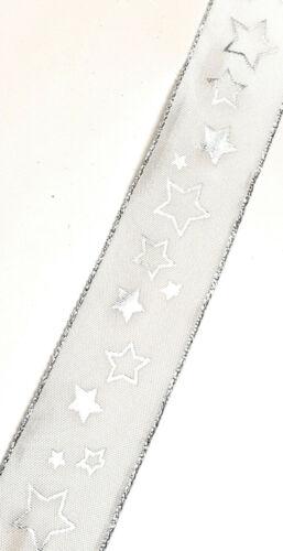 1m//0, 45 € bucles banda 20m x 4cm blanco plata estrellas dekoband regalo Band #1755