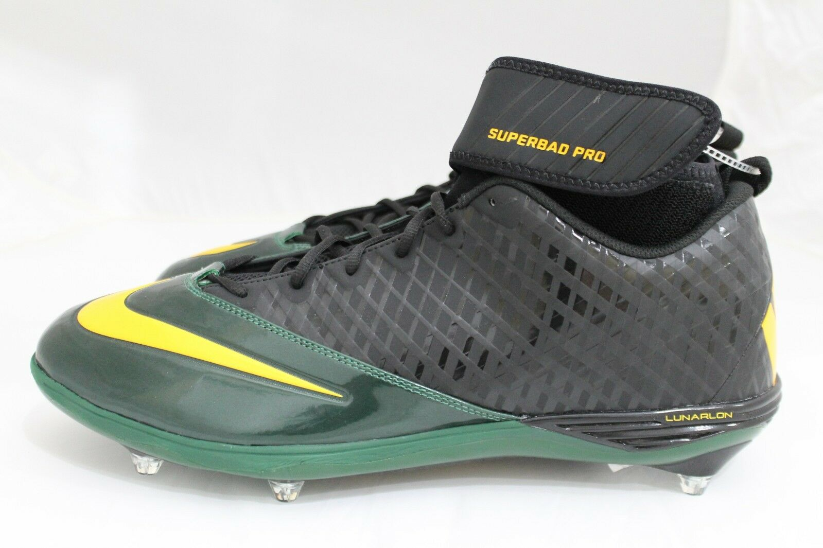 NEW Nike Superbad Pro Lunarlon--size 17, dark green and gold--544762-012