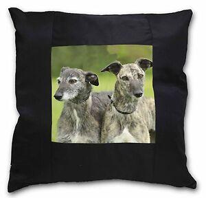 Image Is Loading Lurcher Dog Print Black Border Satin Feel Cushion