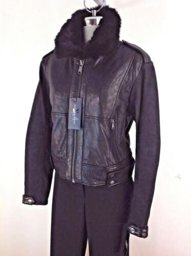 Andrew Marc NWT Luxurious BLACK leather w all Real Fur collar//Real Fur lining M
