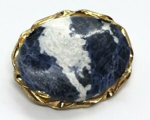 Vintage-Brooch-Pin-Blue-Stone-Gold-Tone