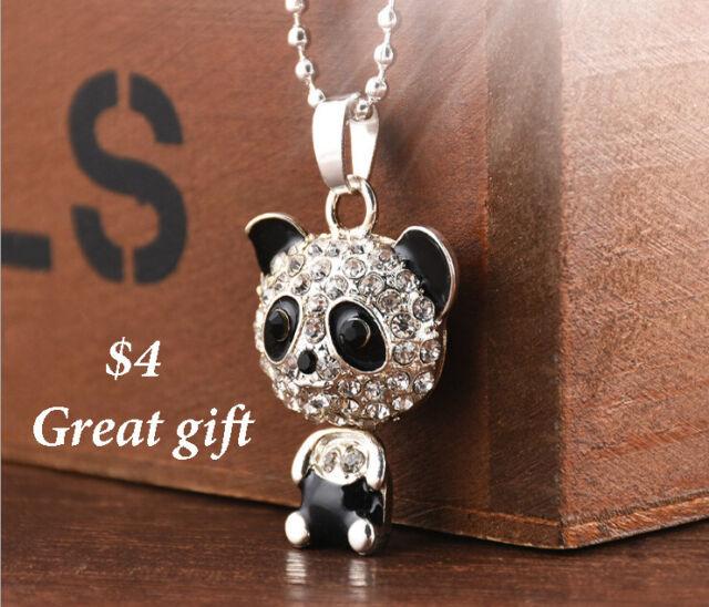 Silver Panda Rhinestone Pendant Necklace Jewelry