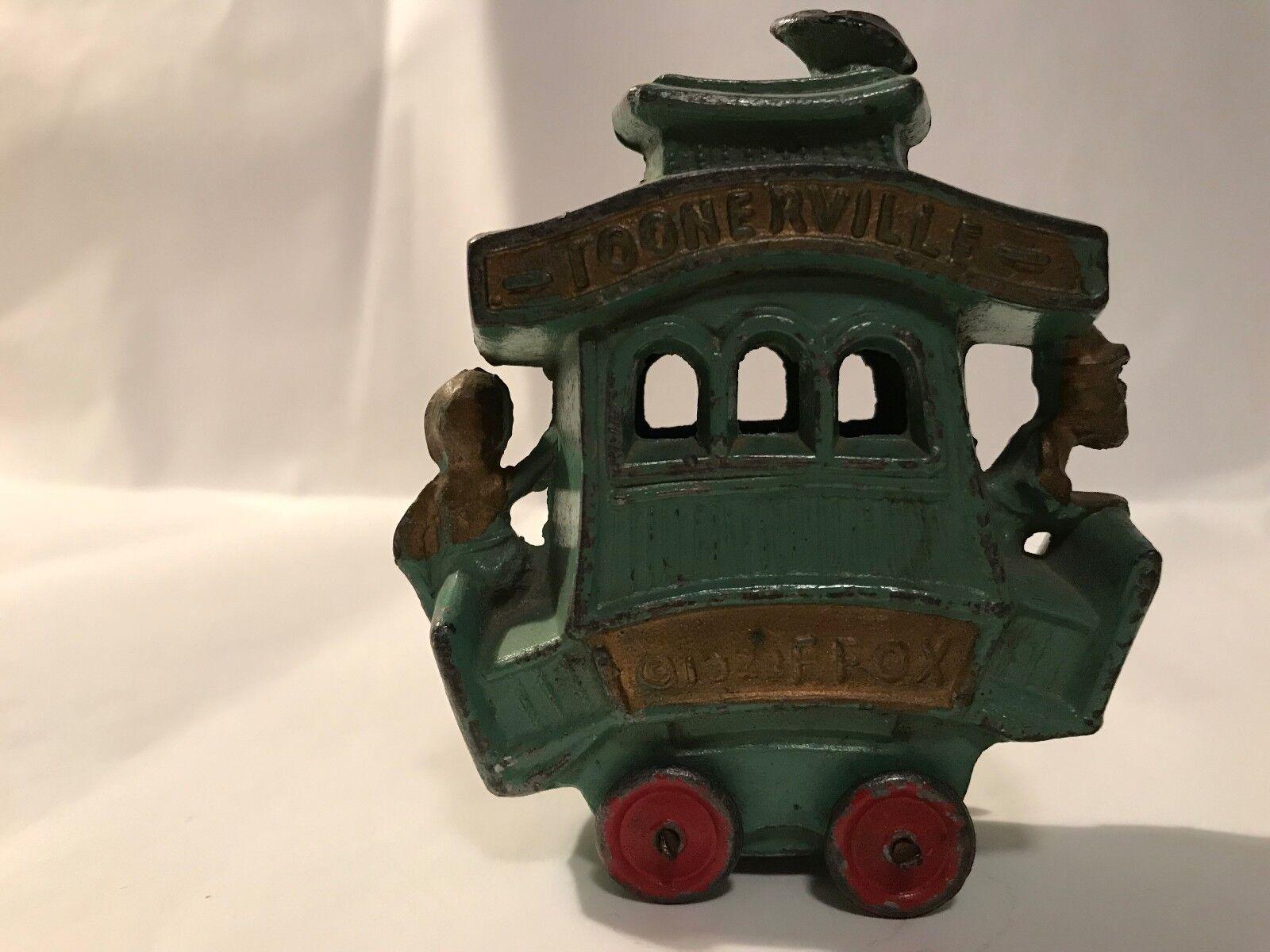 Antique Cast Cast Cast Iron Toonerville Trolley 1922 28c8a0