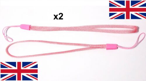 2x Wrist strap PINK hand wrap lanyard camera general loop safety key grip UK