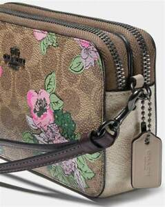 New-Coach-Kira-Crossbody-With-Blossom-Print-89275-Pewter-Tan-Sand