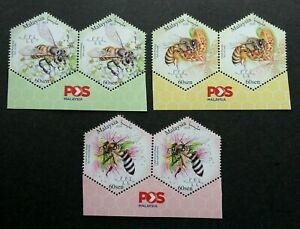 SJ-Malaysia-Honey-Bees-2019-stamp-pair-with-logo-MNH-odd-shape-unusual