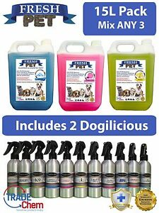 3-X-5L-FRESH-PET-Kennel-Disinfectant-Mix-3-amp-2-x-250ml-Dogilicious-Perfume