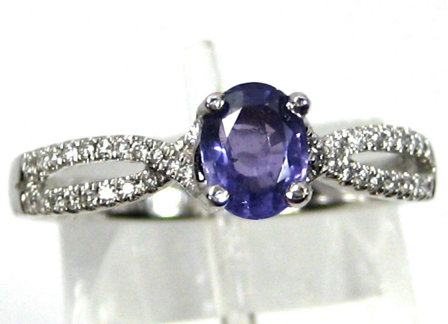 Purple Sapphire Ring Cross Over 14K White gold Solitaire Unique Heirloom
