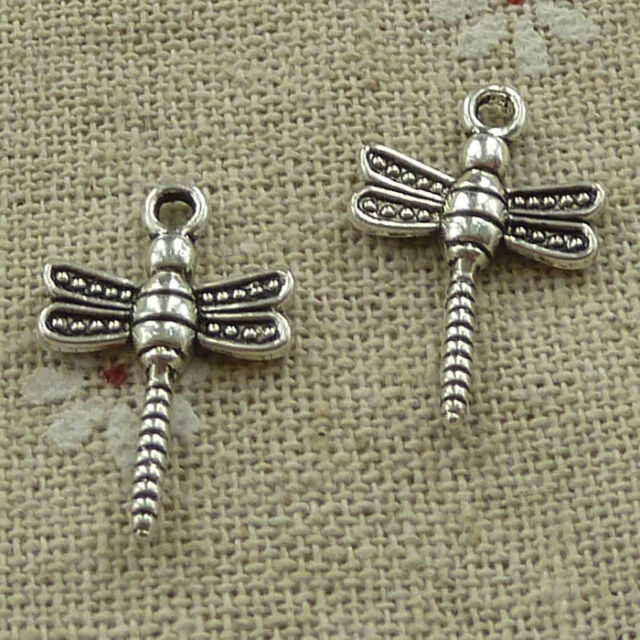 18 New Animal Dragonfly Charms Tibetan Silver Tone Pendants 16x17mm